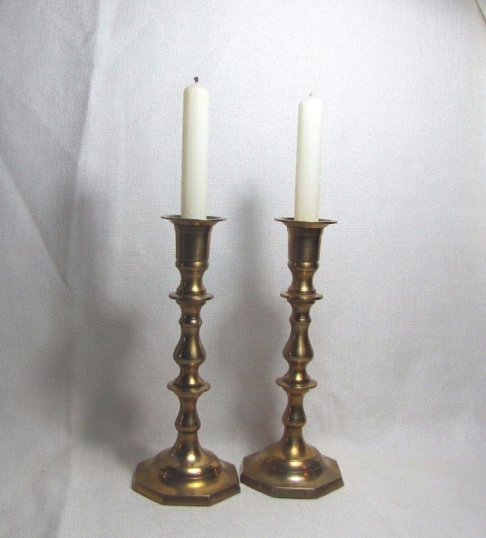 Vintage Pair Solid Brass Candlesticks Candle Holders Made in India RIH 9.5