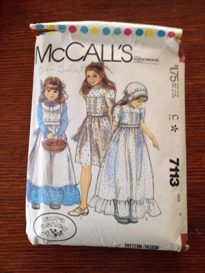 McCalls Girls Dress Pattern 7113 Laura Ashley Prairie Style Size 5