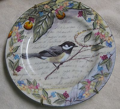 Lili American Atelier at Home Morning Song Porcelain Plate w/Chickadee bird