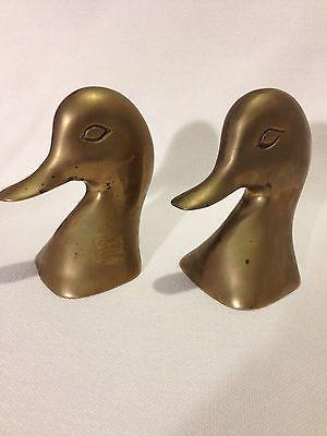 Bookends Brass Mallard Duck Head  Mid Century Modern/Vintage