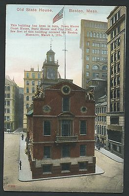 State House Boston Massachusetts Court Town City Hall Scene Postcard