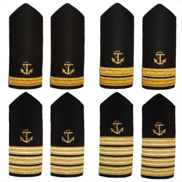 Shoulder Boards Epaulets Hardboards With Gold Bars Stripes And Gold Anchor