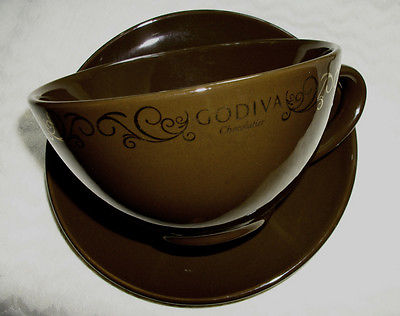 NEW Coffee Cup/MUG with saucer  Godiva Chocolatier LARGE SOUP/