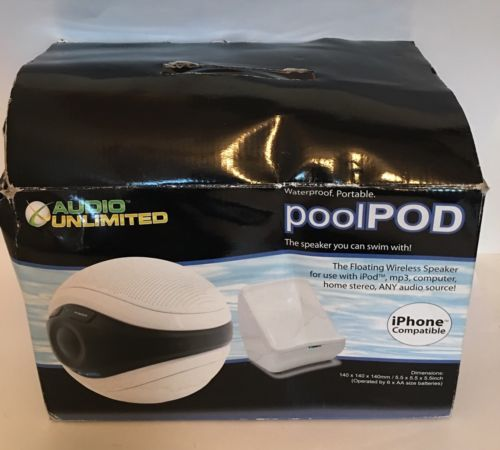 Audio Unlimited 900MHz Wireless Floating Waterproof Pool Pod Speaker iPhone
