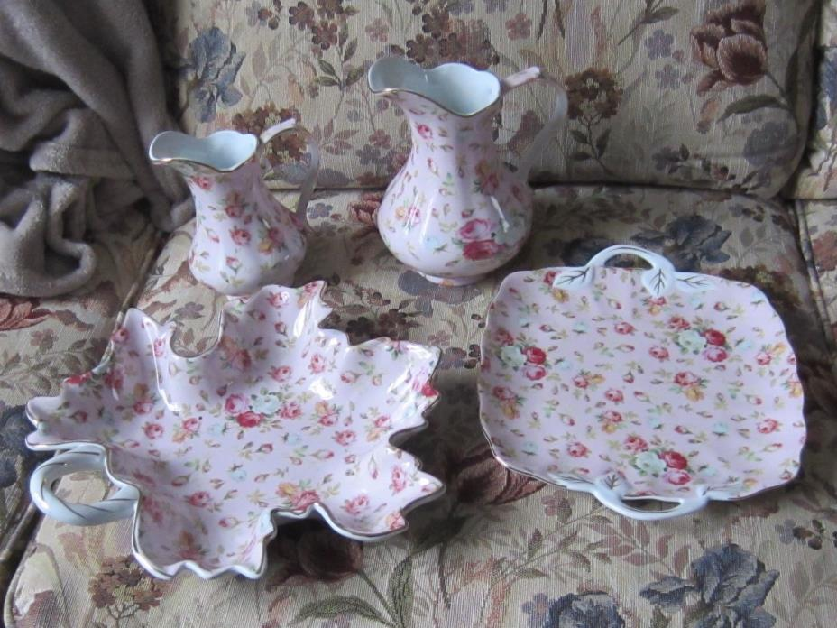 4 Royal Danube Pink Porcelain Rose Chintz Cake Plate Leaf plate pitchers