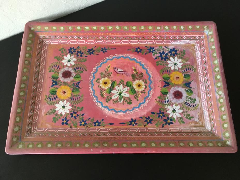 Vintage Hand Painted Folk Art Mexican Batea Pink Lacquered Wood Tole Tray 12x18
