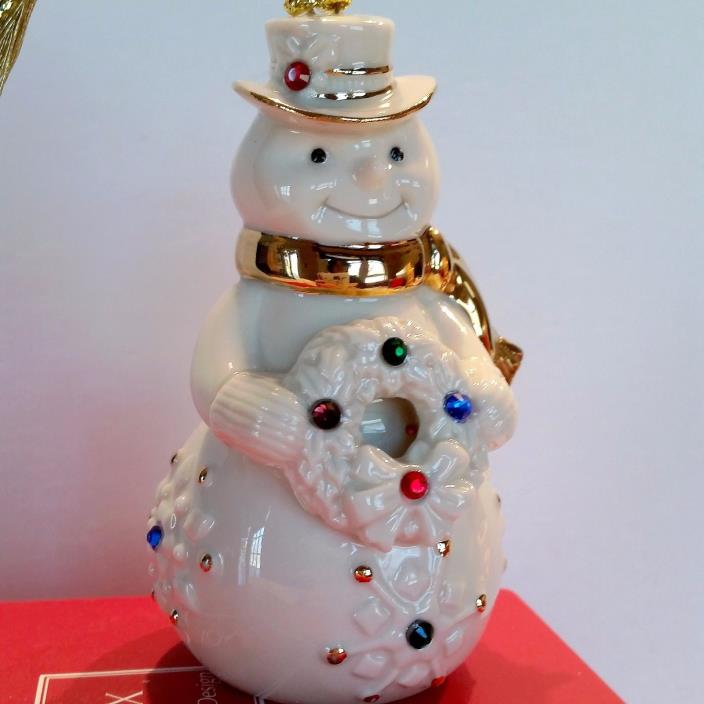 Lenox Holiday GEMS Snowman Porcelain with Crystals NEW IN BOX