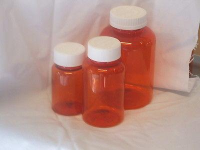 6 MEDIUM Amber Plastic Medicine Bottles with Caps comes MEDIUM & Small Clean