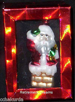 Santa Claus Ornament Christmas Tree Chimney NEW Glass
