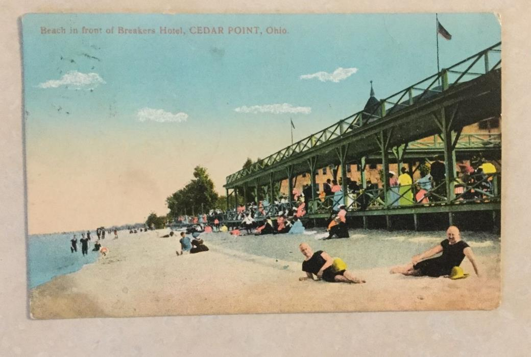 Cedar Point, Ohio Beach, Breakers Hotel, 1909 Post Card