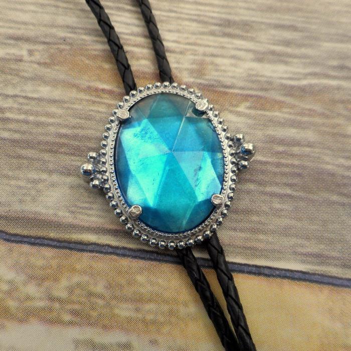 Turquoise Blue Gem Bolo Tie Country Western Rockabilly Necklace Boho Unisex