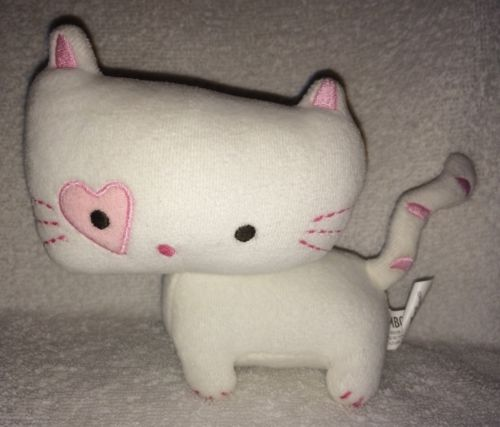 Gymboree Cat Kitty Kitten Pink White Baby Plush Toy Rattle Heart 5
