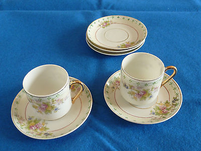 Two Porcelain Floral Tea Cups/Saucers from Japan B842