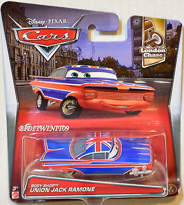 DISNEY PIXAR CARS 2017 LONDON CHASE BODY SHOP UNION JACK RAMONE