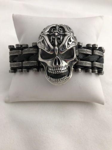Heavy Stainless Steel Black Leather Skull 9 3/4