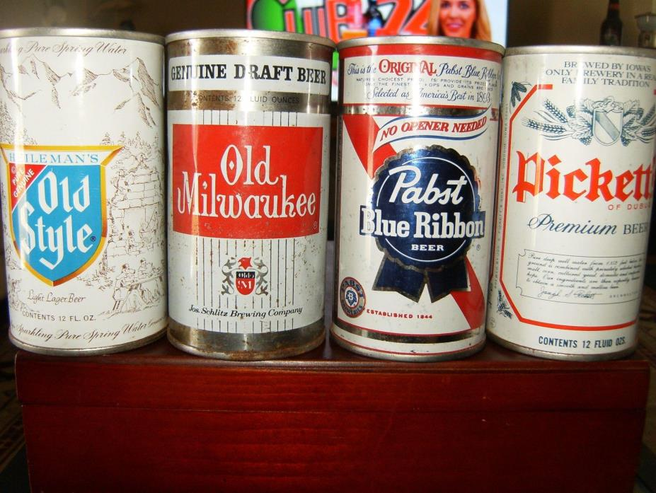 4 VINTAGE 12 OZ STRAIGHT STEEL BEER CANS:OLD STYLE  OLD MILL   PBR   PICKETT'S