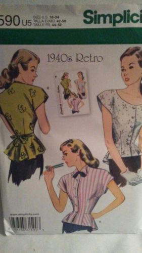 Simplicity 1590 / 1940's Retro Blouse, Sizes 16-24 Sewing Pattern NEW