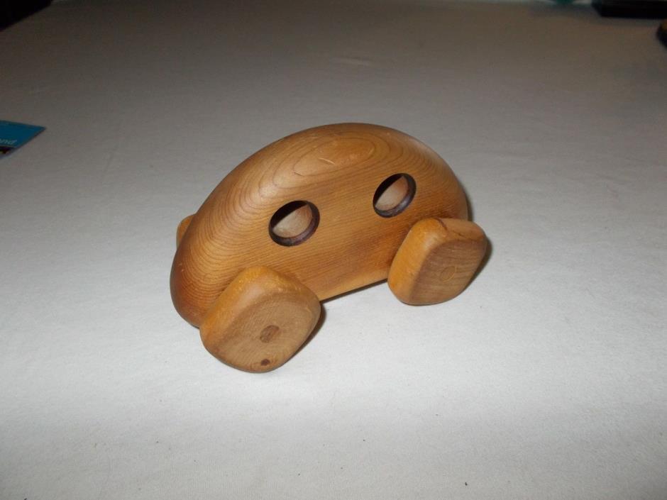 Hugh Gundry custom handmade Children's wooden toy push car with square wheels
