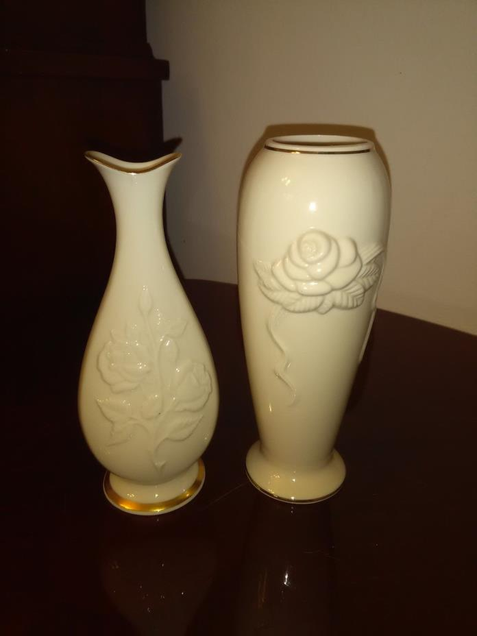 Lot of 2 Lenox Bud Vases Ivory With Gold Trim Floral