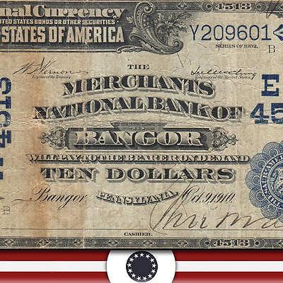 1902 $10 Date Back First National Bank of BANGOR, PA. Northampton County   2080
