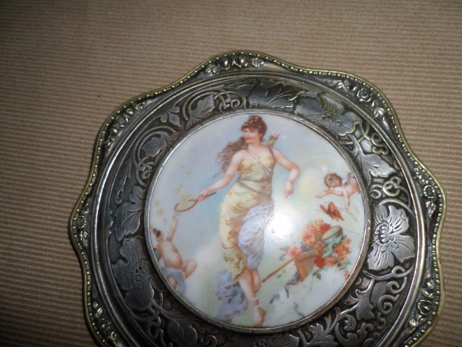 Vintage Hand Mirror - Porcelain Insert