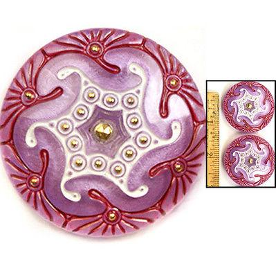 REDUCED! XL 42mm Czech Glass ART DECO Lavender PURPLE Gold Star SPIRAL Buttons 2
