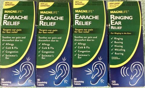 Magnilife (3ea)Earache Relief Tabs & (1ea) Ringing Ear Relief Tabs