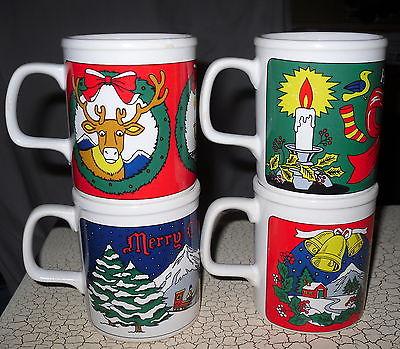 Set of 4 Japan Made Christmas Mugs Cups D Handle Reindeer Snowman Noel Joy