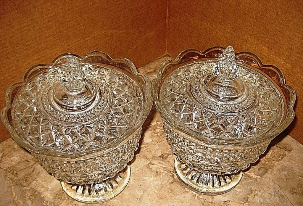 vintage Crystal Glass Candy Dishes + Lid
