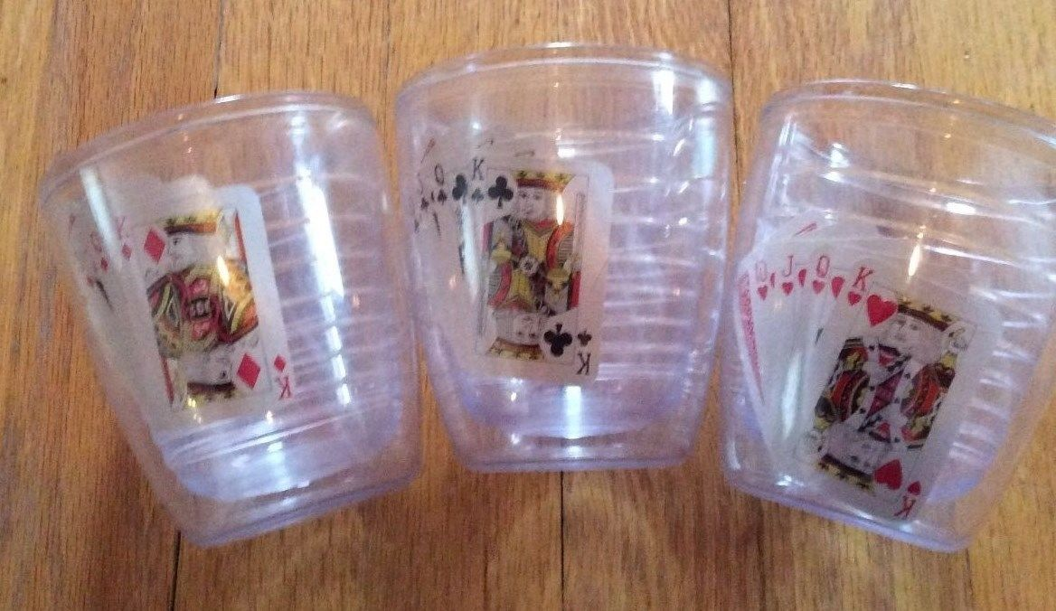 3 - Vintage Insulated Double-Wall Tumblers Playing Cards Tervis Like -KH 419 EUC