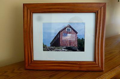 USA WOOD BARN AMERICAN FLAG  WOOD FRAME DESK WALL MOUNT FRAME 12 1/2