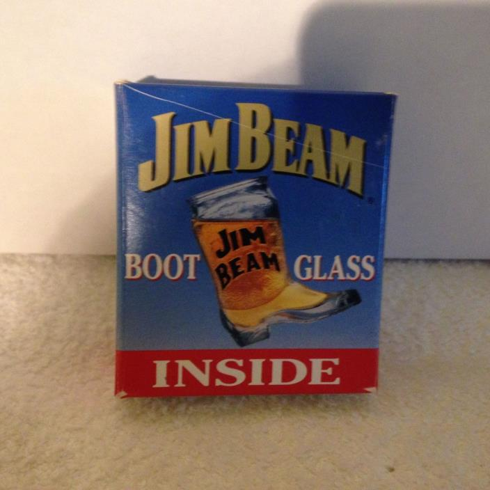 1993 Jim Beam Glass Cowboy Boot Shot Glass with Box