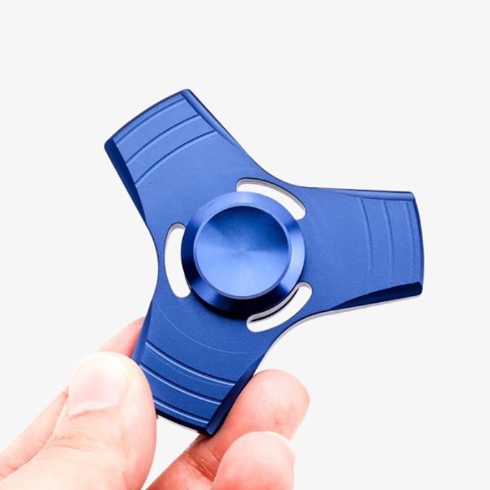 Blue Tri Spinner Fidget Hand Toy EDC Desk Focus ADHD Metal Triangle