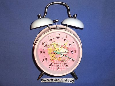 (Brand New) Hello Kitty Double Twin Bell Alarm Clock Bear Pink White Sanrio 2009