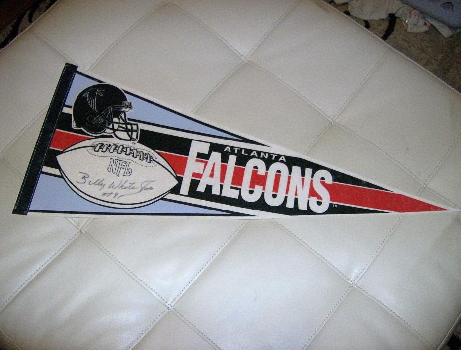 vintage  atlanta falcons nfl football pennant autographed