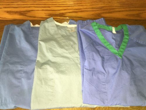 Lot 3 blue green surgical medical reversible scrubs tops chest pocket L unisex