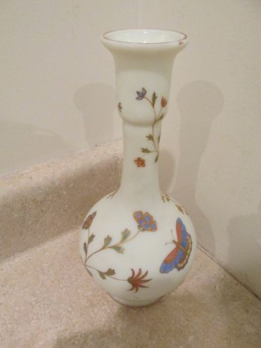 S3 ANTIQUE BRISTOL ENAMELED FROSTED HUMMING BIRD BUTTERFLY VASE GOLD DECORATION