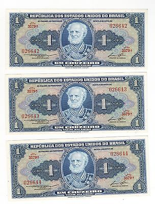 BU 3 pc. lot,foreign currency  Brazil three consecutive 026642/3/4,Money for Rio