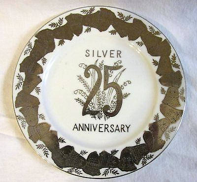 VINTAGE Silver Trimmed 25th Anniversary NORCREST Candy Dish Fine China B-536