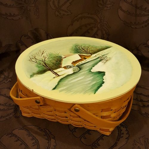 Vintage Hand Painted Lid (Snow and Mill) Pie Basket with Liner
