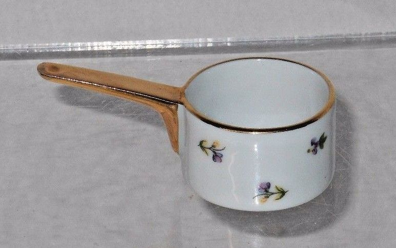 Miniature French LIMOGES Frying Pan - Castel France w/ Decorations