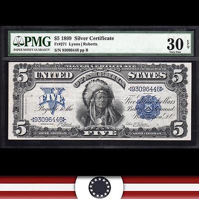 BRIGHT 1899 $5 Silver Certificate *CHIEF*  PMG 30 EPQ, Fr 271   93096446