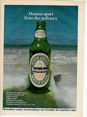 1976 OCEANS APART HEINEKEN BEER COLOR PHOTO AD