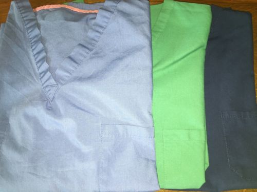 Lot 3 blue green surgical medical reversible scrubs tops chest pocket XL unisex