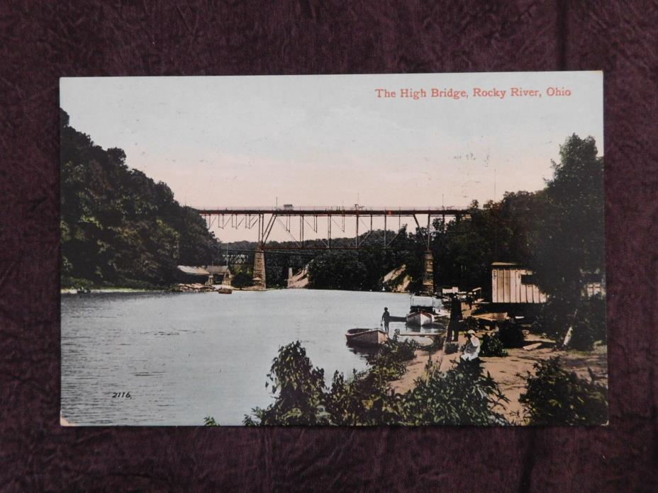Vintage Postcard: High Bridge, Rocky River OH, posted 1912