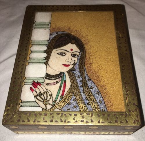 Wood Brass And Crushed Stone Inlay India Trinket Box Woman Bindi Henna Velvet