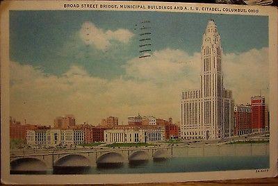 Broad Street Bridge, A.I.U. Citadel, Columbus, Ohio - Posted Aug 28, 1934