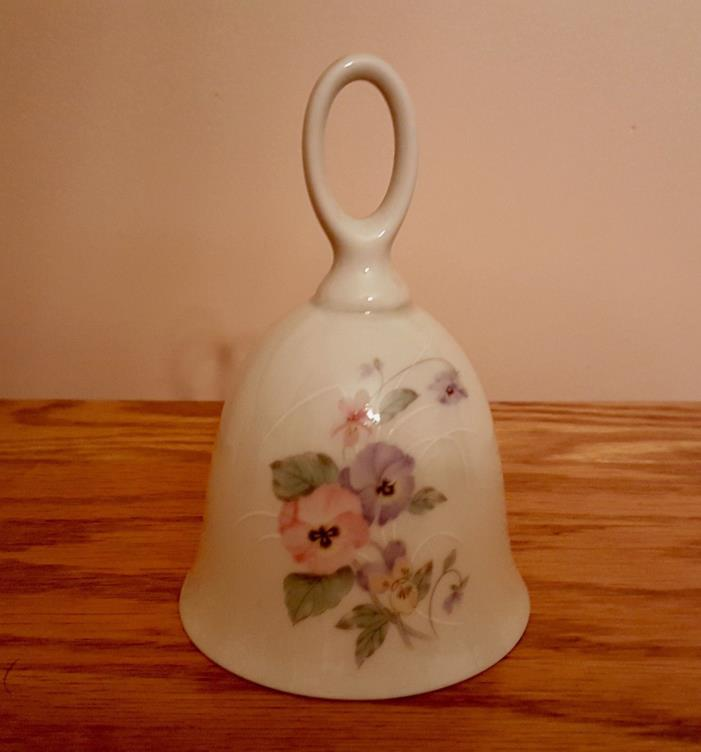 RUSS Porcelain Bell With Painted Flowers 4931 Made In Japan