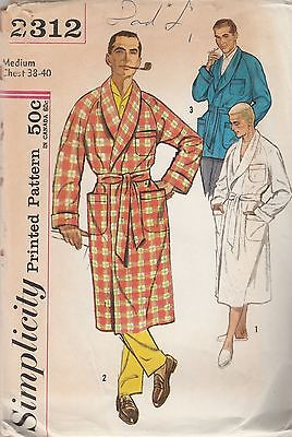 Vintage Sewing Pattern Simplicity 2312 Men's Robe 1960s Medium Chest 38 - 40