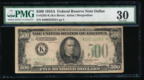 AC 1934A $500 FIVE HUNDRED DOLLAR BILL Dallas PMG 30 comment